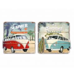 Get ready for summer with this assortment of 2 camper van signs. Each has a distressed finish and a vintage style.