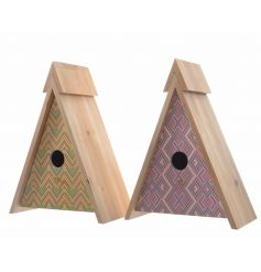 An assortment of 2 wooden tepee birdhouses, each with a graphic geometric design in orange and purple colours.