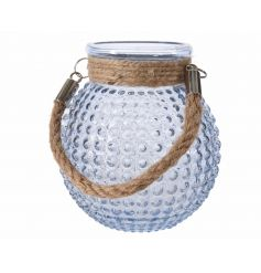 A stylish blue glass t-light holder with a bubble design. Complete with a chunky rope handle.
