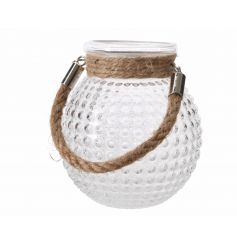 A stylish bubble glass t-light holder with a chunky rope handle.