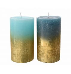 An assortment of 2 aqua and blue with gold pillar candles. A stylish home accessory.