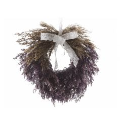 Beautiful wreath made of lavender, finished with an intricate lace bow.
