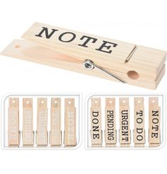 A mix of 10 stylish note pegs with organising slogans. A great stocking filler item and desk tidy.