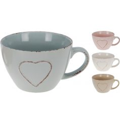 An assortment of 4 shabby chic jumbo mugs with hearts.