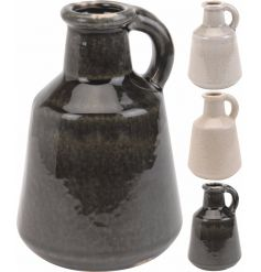 Fall in love with these rustic style, richly glazed vases with handle. A great decorative item for the kitchen and home.
