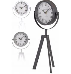 An assortment of 3 stylish table clocks in grey, white and black colours.