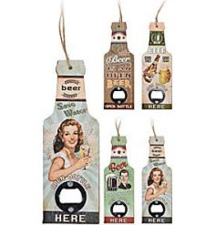 A mix of retro style bottle openers each with a beer slogan and vintage illustration.