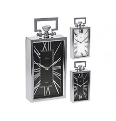 A stylish silver table clock with handle and roman numerals.