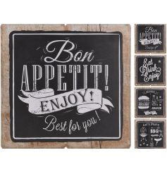 An assortment of 4 rustic, chalkboard style signs in kitchen and bbq designs.