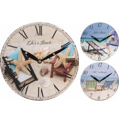 3 coastal charm styled wall clocks