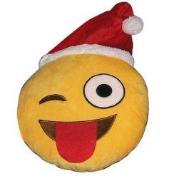 Christmas Emoji Cushion Wink 30cm