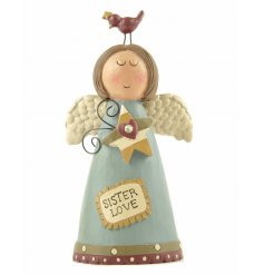 A charming angel decoration with sister love slogan. A great gift item for many occasions.