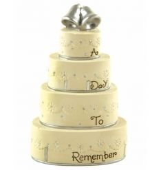 A day to remember. A gorgeous wedding cake ornament with silver bells and sentiment slogan.