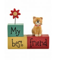 A gorgeous and brightly coloured decoration with friendship sentiment, cat figure and flower.