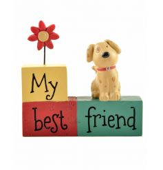 My Best Friend. An adorable dog sign with figure and flower, finished in bright colours.