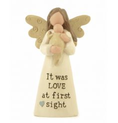 A gorgeous angel figure with It was love at first sight slogan.