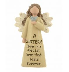 A gorgeous angel decoration with sister slogan with bird feature.