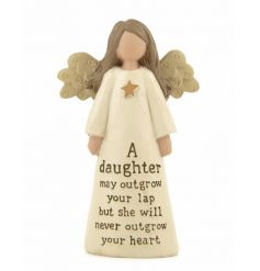 A daughter may outgrow your lap but she will never outgrow your heart angel figure.