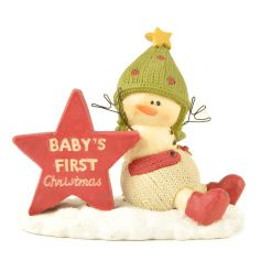 An adorable Baby's First Christmas ornament with a snowman dressed in a knitted outfit with star sign.