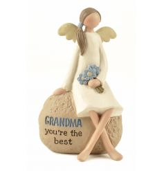 A charming sitting angel decoration with a lovely Grandma sentiment.