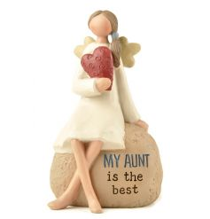 A sweet sitting angelic figure with a scripted text