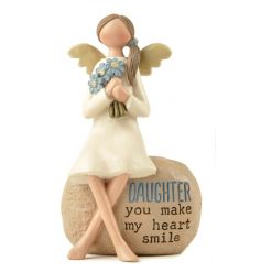 A pretty decorative accessory with an angel sitting on a stone. Complete with daughter sentiment.