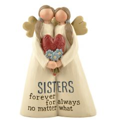 A charming sisters forever ornament with sentiment slogan.