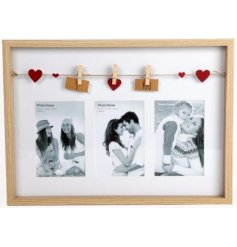 A stylish triple photo frame with I Love You peg garland.