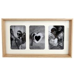 A stylish and classic triple photo frame with a natural border.