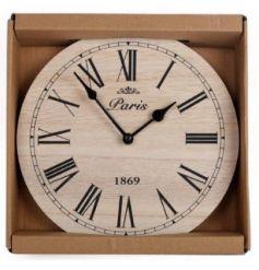 A stylish wooden clock decoration.
