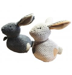 A mix of 2 charming knitted doorstops, each with a heart patch and leather heart collar.