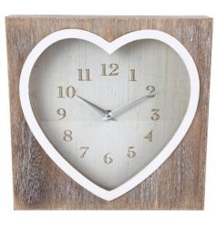 Shabby chic styled box clock with a limewash wooden finish