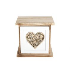 A shabby chic style single drawer with a decorative laser cut heart pattern.