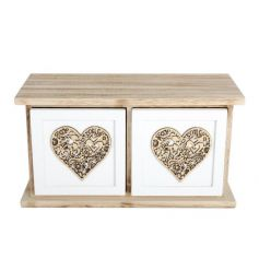 A shabby chic style double drawer with a twin decorative laser cut heart pattern.