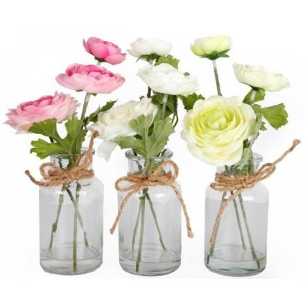 Artificial Flowers In Jars, 3asst