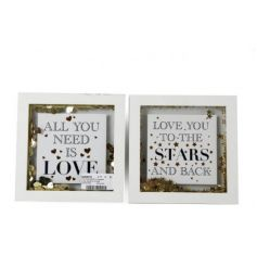 quoted white frames with a golden confetti shower inside