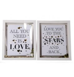 Quoted white frames with a gold confetti inside