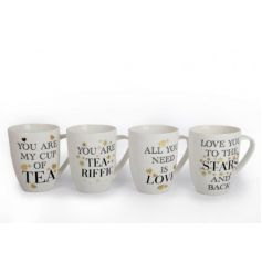 An assortment of 4 popular slogan mugs with gold star or heart detailing. A lovely gift item!