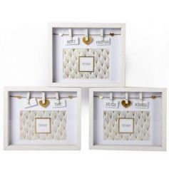 A mix of 3 chic box photo frames each with a sentiment slogan and hearts pegged.