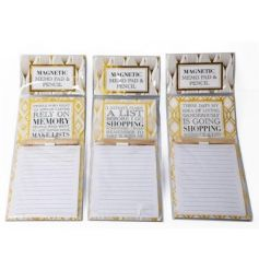 An assortment of chic magnetic memo pads with pencil. Each with a shopping slogan.