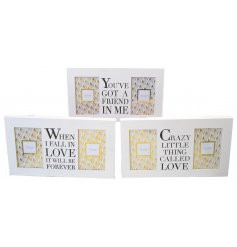 An assortment of 3 friendship and love slogan frames with twin photos.