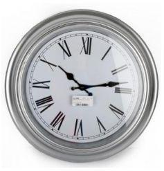 Silver Wall Clock, 40cm
