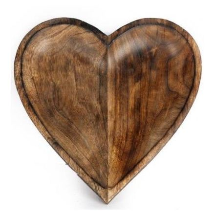 Mango Wood Heart Bowl, 30cm