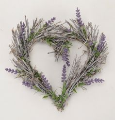 A charming lavender heart wreath. A rustic decorative accessory for the home.