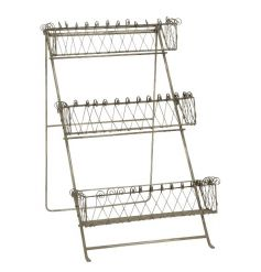A rustic style 3 tier storage unit with decorative baskets. Perfect for display and for kitchen and home use.