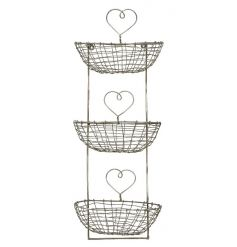 A rustic style three tier storage unit with wire baskets and charming heart detailing.
