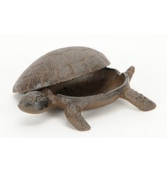 A handy cast iron tortoise decoration with removable shell. Perfect for hiding away keys!