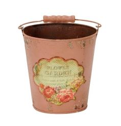 A vintage inspired metal bucket in pink with a pretty floral label. Ideal for planting, display and storage.
