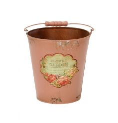 A vintage inspired pink bucket with handle and Flower Garden illustrated label. Ideal for planting, storage and display