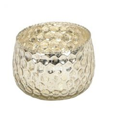 Add some glamour to your home with this champagne coloured t-light holder with a honeycomb inspired design.